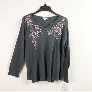 Style Co Gray Floral Thermal Long Sleeve Top B4-10